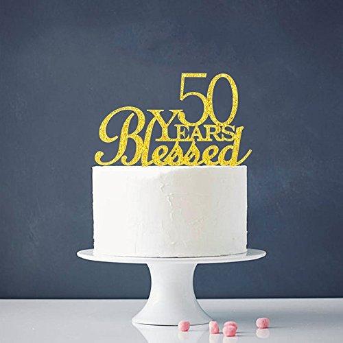 INNORU Decoración para Tarta de 50 años con diseño de Flores – 50 cumpleaños – Decoración para Fiesta de Aniversario...
