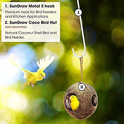 SunGrow S-Shaped Metal Hangers, White Hook Stakes for Bird Feeder, Birdhouse, Outdoor Decor, Air Plant Orbs, Lights, Lanterns, Flower Baskets and More, Heavy-Grade Stainless Steel, 2 Pack : Garden & Outdoor
