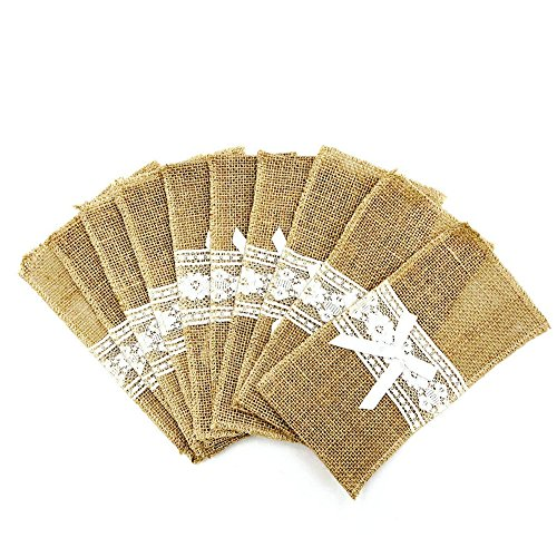 (Burcan 20 Pcs Classic Burlap Lace Silverware Napkin Holders for Country Wedding Baby Shower Table Decorations,4.3 in by 8.6)
