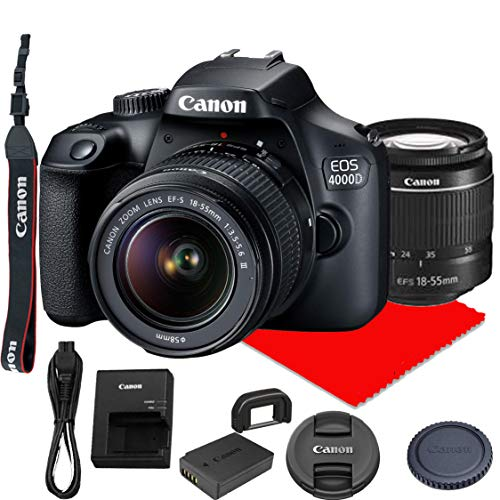 Canon EOS 4000D / Rebel T100 DSLR Camera w/Canon EF-S 18-55mm F/3.5-5.6 III Zoom Lens