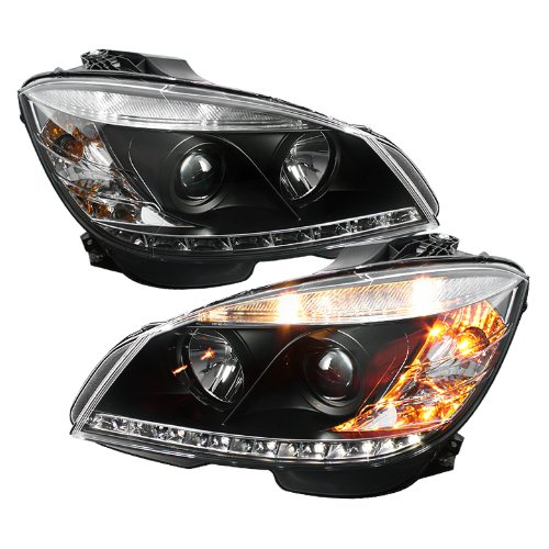 Spyder Auto PRO-YD-MBW20408-DRL-BK Mercedes Benz C-Class W204 Black DRL LED Projector Headlight
