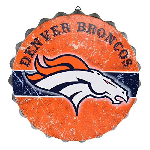 FOCO NFL Denver Broncos Metal Distressed Bottlecap Wall Signmetal Distressed Bottlecap Wall Sign, Team Color, One Size]()