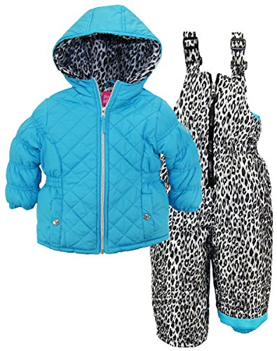 Pink Platinum Toddler Girls' Quilted Snowsuit with Cheeta...