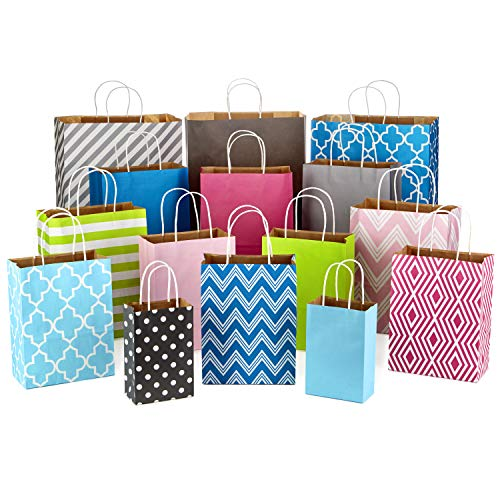 Assorted Gift Bags - Hallmark Paper Gift Bag Assortment for Birthdays, Baby Showers, Weddings, Holidays, All Occasion (Pack of 15; Small, Medium, Large, Extra Large; Pink, Blue, Green, Grey)