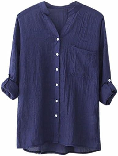 Camisa de Manga Larga sólida de algodón Gasa de Lino de Las Mujeres Blusa Suelta Ocasional Tops de botón 5 Colores S-4XL: Amazon.es: Ropa y accesorios