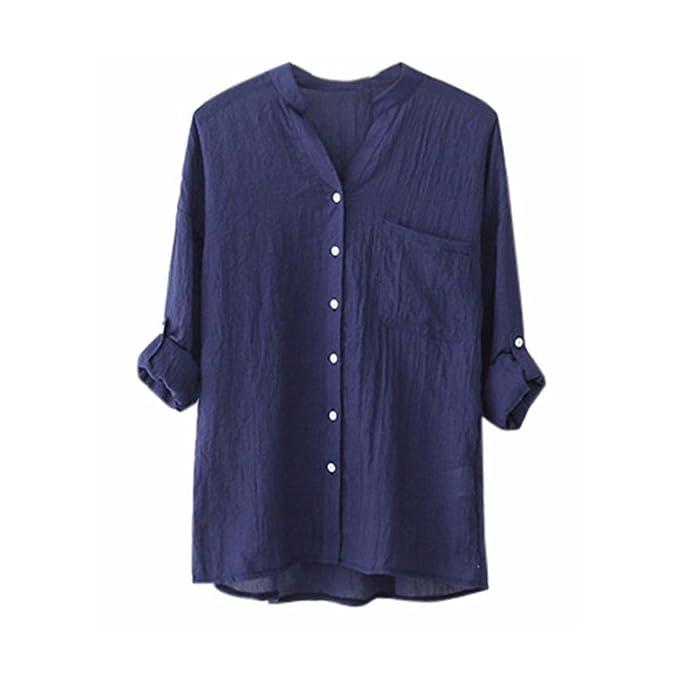 1bce0bc8 Camisa de Manga Larga sólida de algodón Gasa de Lino de Las Mujeres Blusa  Suelta Ocasional Tops de botón 5 Colores S-4XL: Amazon.es: Ropa y accesorios