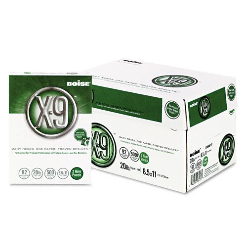Boise : X-9 Copy/Laser 3-Hole Paper, 92 Brightness, 20lb, Letter, White, 5,000 Sheets -:- Sold as 2 Packs of - 10 - / - Total of 20 Each by Boise