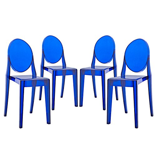 Modway Casper Modern Acrylic Dining Side Chairs in Blue - Set of 4 (Dining Asian Chairs)