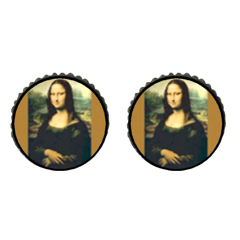 GiftJewelryShop Bronze Retro Style Da Vincis Art Mona Lisa Photo Stud Earrings 10mm Diameter