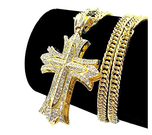 - Iced Out CZ Cross 14K Hip Hop Gold Plate Jewelry Bling Bling Pendant Necklace 30 Inches Chain Included
