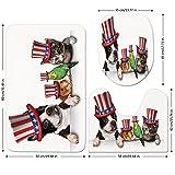 3 Piece Bathroom Mat Set,Fourth-of-July,Cute-Pet-Animal-Dog-Cat-Bird-and-Hamster-with-American-Hat-Celebration-Image-Decorative,Multicolor.jpg,Bath Mat,Bathroom Carpet Rug,Non-Slip