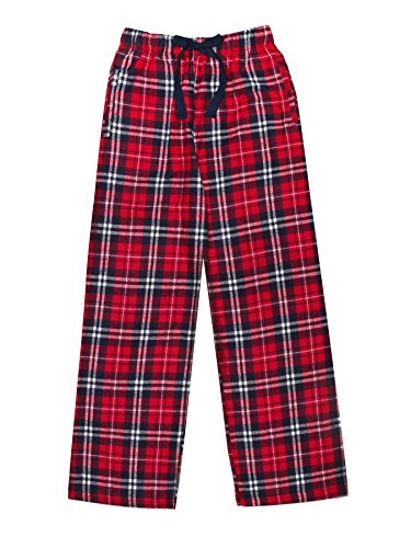 Cozy Bear Ultra Soft Unisex Youth 100% Cotton Flannel Pants – Navy Red, Medium ()