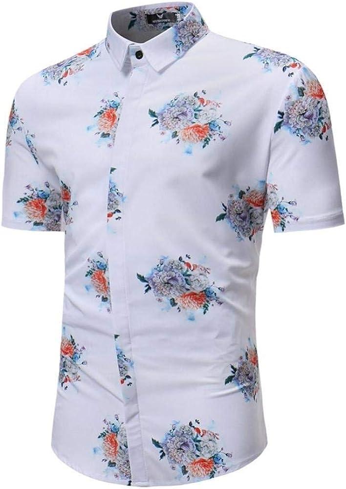 2018 Tops De Moda Camisas para Hombre De Mode De Ocio Marca De Verano Camisas Hombres Hombres De Moda Retro Peonías Impreso Blusa De Manga Corta Casual Fit Camisas De La Camisa: