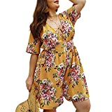 Duevin Women's Romper Jumpsuit, Plus Size V Neck Floral Print Summer Casual Suit for Leisure Vacation(XL-Yellow)