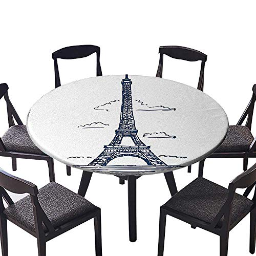 Modern Table Circle Cloth Illustration of Eiffel Tower in Paris Modern French City Skyline Minimali Indoor or Outdoor Parties 47.5