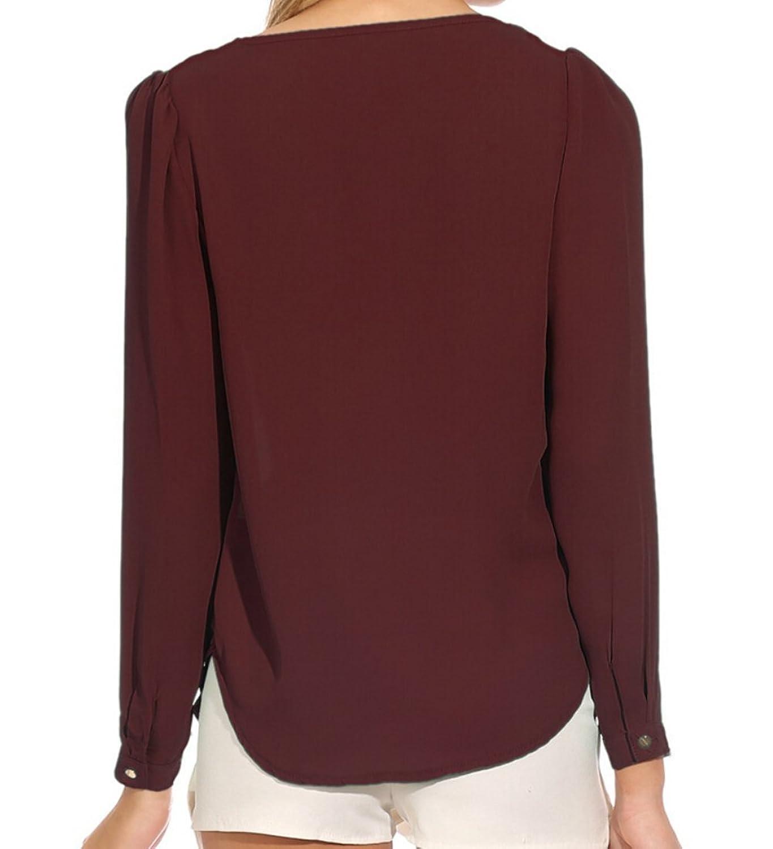 21secret Womens Long Sleeve V Neck Zipper Sexy Chiffon Pullover T-shirt Blouse, Wine