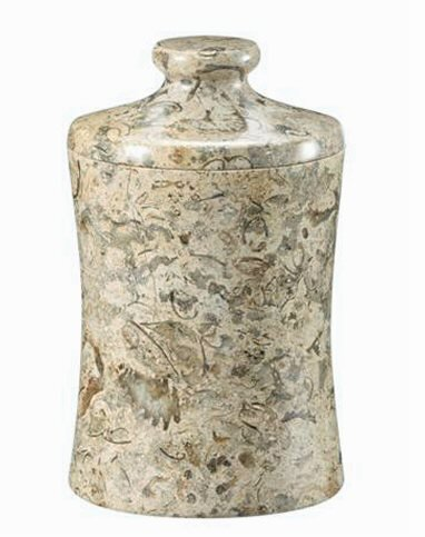 Khan Imports Decorative Coral Stone Jar, Traditional Coral 35th Anniversary Gift