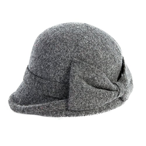 Womens Vintage Wool Felt Cloche Bucket Bowler Hat Winter Foldable Warm Grey