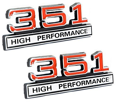 (351 5.8 Liter Engine High Performance Emblems in Chrome & Red - 4