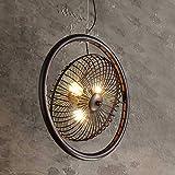 Rishx Vintage Loft Metal Fan Ceiling Lamp Edison 3-Lights Industrial Retro Wheel Chandelier