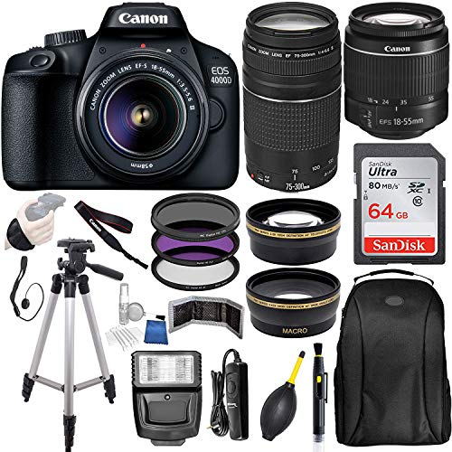 "Canon EOS 4000D (Rebel T100) Digital SLR Camera w/ 18-55MM DC III Lens Kit (Black) with Canon EF 75-300MM Lens Professional Accessory Bundle Package Includes: SanDisk 64gb Card + 50"" Tripod and More"