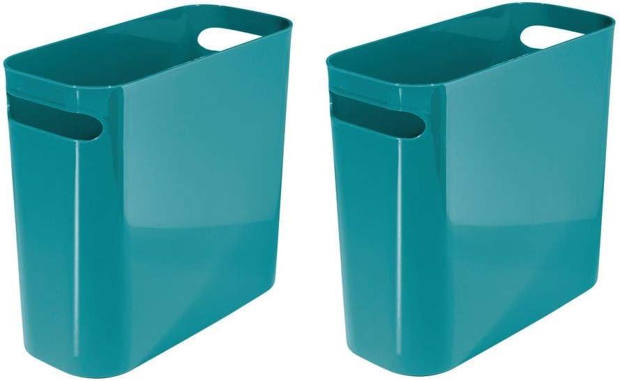 "mDesign Slim Plastic Rectangular Small Trash Can Wastebasket, Garbage Container Bin with Handles for Bathroom, Kitchen, Home Office, Dorm, Kids Room - 10"" High, Shatter-Resistant - 2 Pack - Teal Blue"