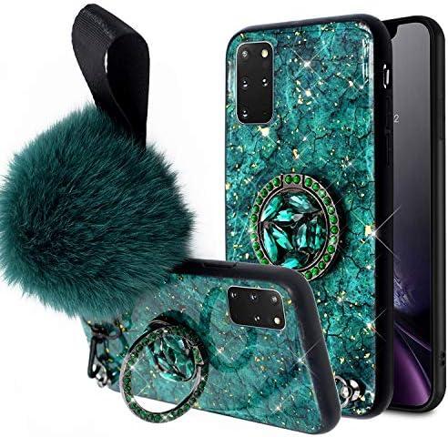Herbests Kompatibel mit Samsung Galaxy S20 Plus Glitzer Hülle Mädchen Frauen Kristall Bling Diamant Cute Schutzhülle Strass Glänzend Silikon Handyhülle Handytasche mit Ring Ständer Halter,Grün