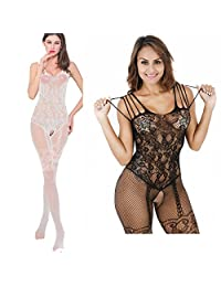 Womens Striped Lingerie 2-Pack Crotchless Bodystocking Bodysuits Suspender