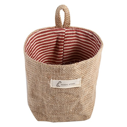 - Fdit Cotton Linen Hamper Hanging Clothes Bag Home Gadget Storage Organizer Foldable Basket Bin (Red Stripe)