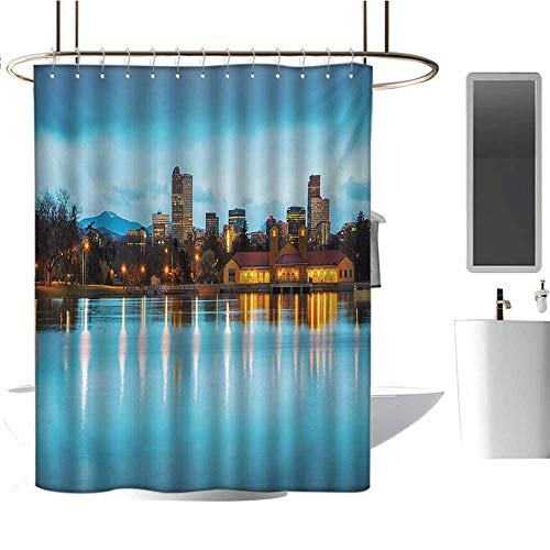 Urban Patterned Shower Curtain Downtown Denver Ferril Lake Colorado at The Morning City Park Capital Bathroom Accessories Sky Blue Yellow Orange