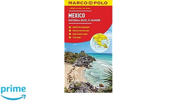 Mexico, Guatemala, Belize, El Salvador Marco Polo Map Marco Polo ...