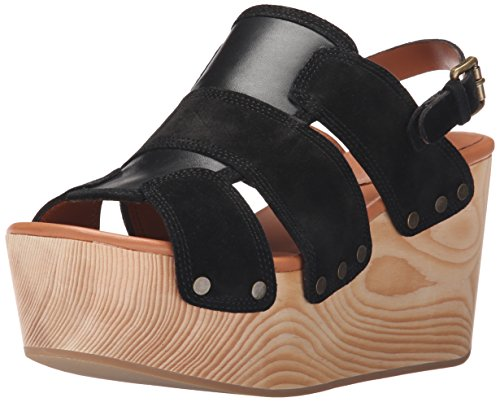 10 Crosby Womens Heath Wedge Sandal Black Sport Suede/Vachetta