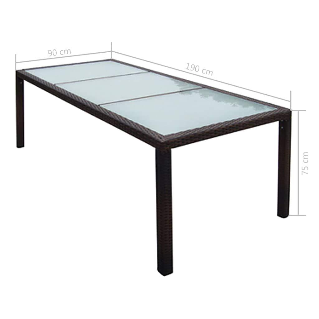 Table de Balcon Table de Jardin Table dExt/érieur en R/ésine Tress/ée 190 x 90 x 75 cm Marron Tidyard Table de Salon