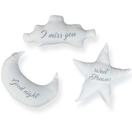 Cojines Infantiles Estrella, Luna y Nube Oh My Home (Pack de ...