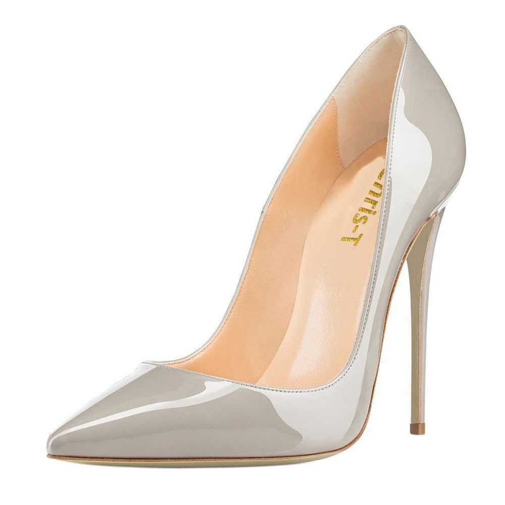 Chris-T Womens Formal Pointed Toe Pumps Basic Shoes High Heel Stilettos Sexy Slip On Dress Shoes Size 4-15 US B075F6PR6F 12 B(M) US|Gray/Red S0le(bottom)