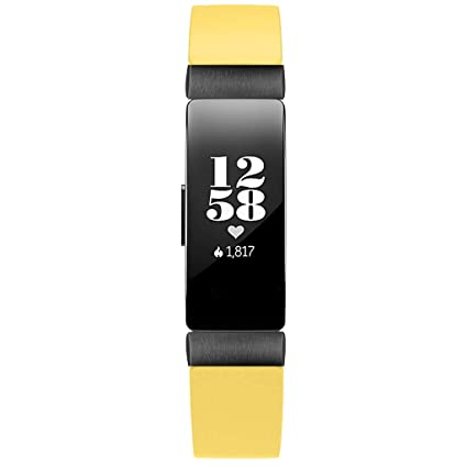 Amazon.com: Smart Watch Band Double Tour Leather Watch Band Strap Bracelet for Fitbit Inspire/Inspire HR Banda de reloj inteligente (Yellow): Car ...
