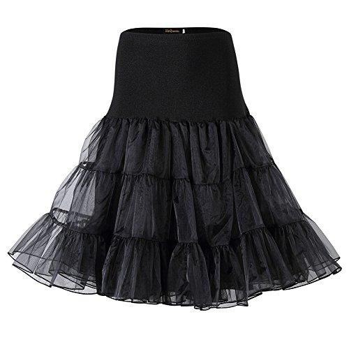HIQUEEN Femmes Jupes Petticoat des annes 50 Jupon en Cristal Dsoss Tutu Crinoline Underskirt Noir