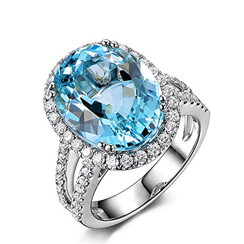AMDXD 925 Sterling Silver Anniversary Rings for Women Blue Oval Cut Topaz Oval Shape Ring Size 10.5