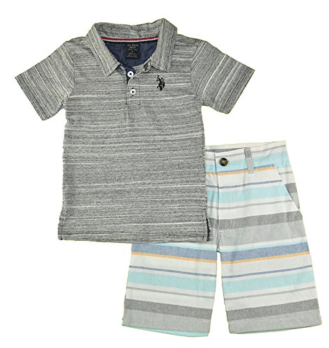 U.S. Polo Assn. Boys' Little Polo Shirt and Short Set, Black Logo Multi Plaid 5/6