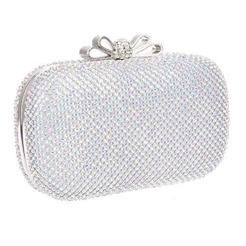 Crystal Clutch Bow Bags Silver Bonjanvye Girls Rhinestone For Purse Ab Evening SdaxqwYIx