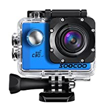 4k WIFI Sports Action Camera, SOOCOO C30R Action Camera Waterproof 20MP 170 Degree Wide Angle Sports Video Camera 2 LCD Screen/2.4G Remote Control/2x1350mAh Batteries-Blue(Micro SD Card Not Included)