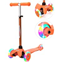 ChromeWheels Scooter for Kids, Deluxe 4 Adjustable Height 3 Wheels Glider with Kick Scooters, Lean to Steer with LED Flashing Light for Kids 3-6 Years Old Girls Boys Toddlers