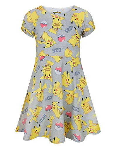 Pokemon Pikachu Girl's Short Sleeved Dress (7-8 Years)