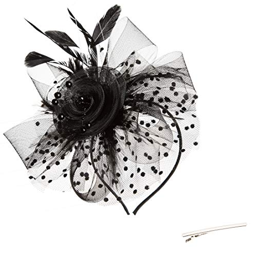 Flowers And Veil (SAFERIN Fascinator Hair Clip Pillbox Hat Bowler Feather Flower Veil Wedding Party Hat Tea Hat)