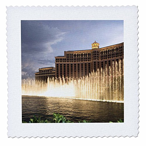 3dRose qs_92220_3 Fountain in Front of a Las Vegas Hotel, Nevada - US29 IST0002 - Inti St. Clair - Quilt Square, 8 by - Clair St Square