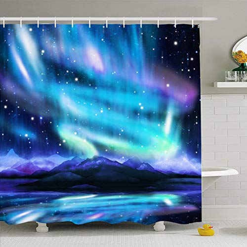 (Ahawoso Shower Curtain 72x72 Inches Northern Alaska Lights Aurora Borealis Dramatic Nature Galaxy Parks Polar Universe Sky Fantasy Design Waterproof Polyester Fabric Set with Hooks )