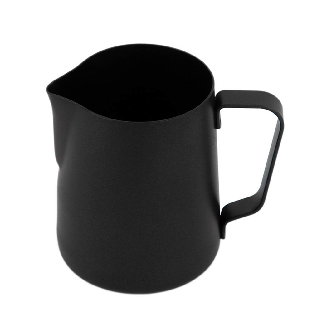 Milk Frothing Pitcher Jug for Latte Art, Stainless Steel Non-stick Teflon Espresso Steaming Pitcher, Coffee Creamer Frothing Cup with Matte Black Finish, 20 oz/600 ml, JADACA by JADACA