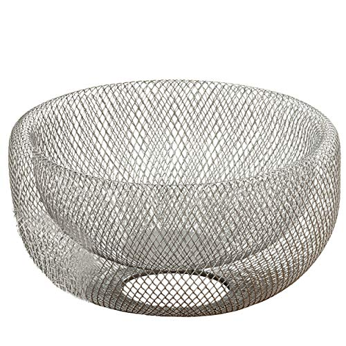 Whole House Worlds The Iconic Modern Wire Mesh Fruit Bowl, Art Museum Style, Zinc, Large, 11 inches Diameter x 6 inches Tall, by WHW -