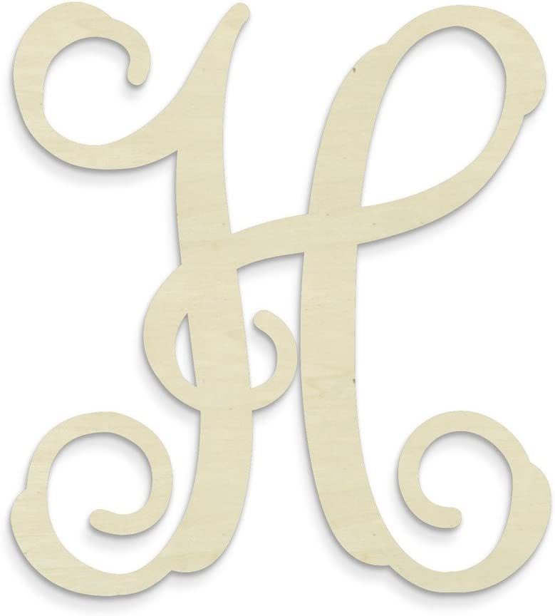 UNFINISHEDWOODCO Single Vine Unfinished Monogram H Decorative Letter, 13-Inch