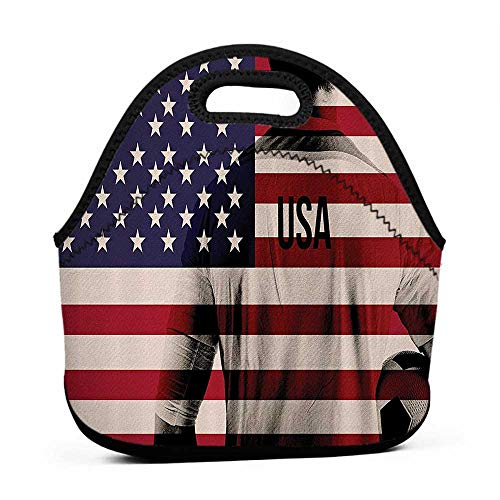 Composite Neoprene Football - Convenient Lunch Box Tote Bag Sports Decor,Composite Double Exposure Image Of A Soccer Player And American Flag National Usa Run,Beige Blue Red,engel lunch bag for men